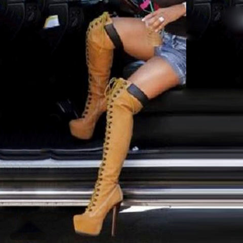 azmodo Brown Knee High Cowgirl Boots