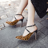 Top Quality Leopard Grain Women Shoes Sexy High Heels 2018 Peep Toe Party Women Pumps Weeding shoes