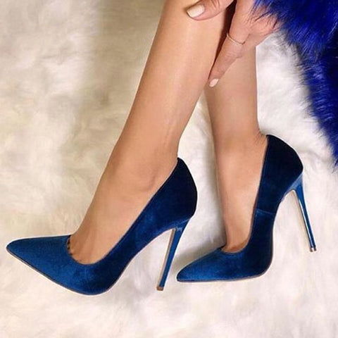 azmodo Dark Blue Suede Pointed Toe Banquet Stiletto Heels