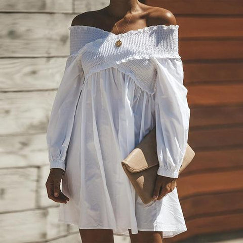 Sexy Off Shoulder Long Sleeve Plain Casual Dress
