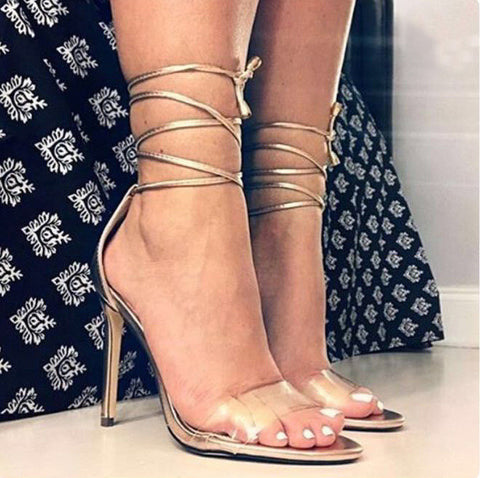 Women Fashion Lace Up Sandals Sexy High Heels Summer Party Shoes Woman Stiletto Pumps