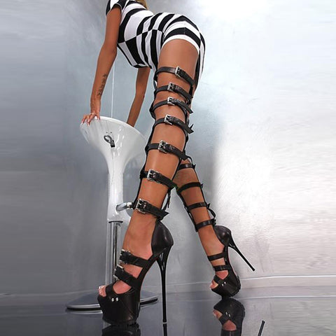 azmodo  Super Sexy Roman Gladiator Thigh High Sandal Boots