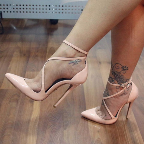 Plain Ankle Strap Pointed Toe Stiletto Heels