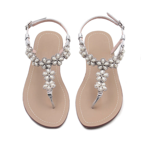 2293d04db09f2 azmodo Women Wedding Flat Sandals with Rhinestones Flip Flop Gladiator Shoes  Silver Color Y13