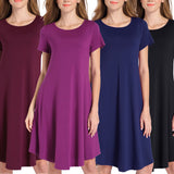 Women's Round Neck Short Sleeve Solid Color Dress