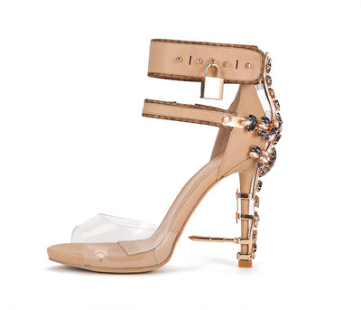 Locking Word Buckle Transparent Rhinestone Heels Metal Sandals Leather Flash Shoes
