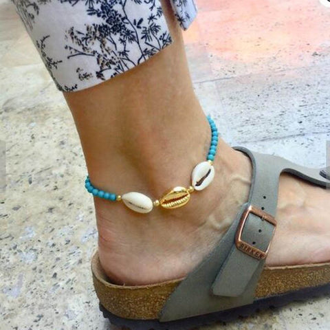 azmodo Bohemia Woven Shell Summer Beach Anklets