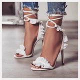Pop lace cross straps Cross Bandage High Heels Sandals Women Pumps Thin Heel Ruffle Lace-Up Summer Shoes Fashion pompes de femme