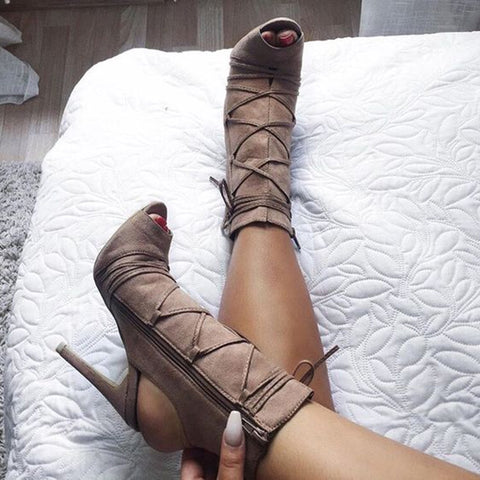 azmodo  Light Coffee Naked Heel Sandal Booties