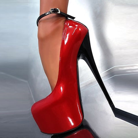 Red & Black Line-Style Buckle Platform Stiletto Heels