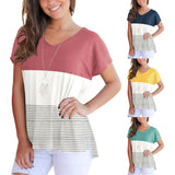 Women's blouse Three-color mosaic short-sleeved striped t-shirt