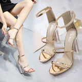 Patent Leather High Heel Sandals Summer Strap Gladiato Open Toe Thick Heels Woman Shoes Glitter Sandals