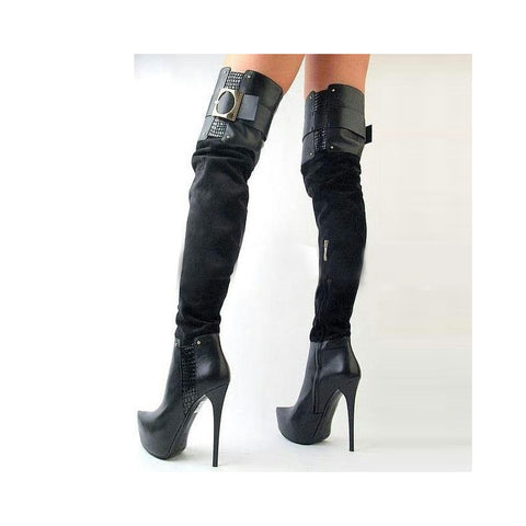 azmodo Side Zipper Buckles Over Knee High Boots