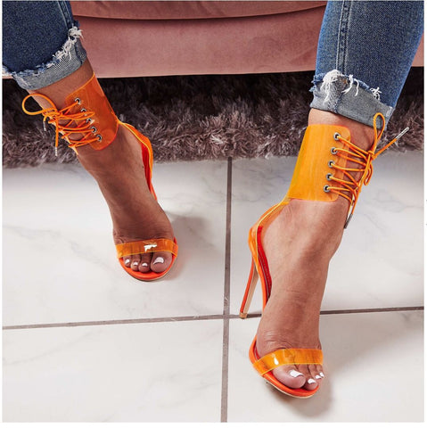 azmodo Sexy Gladiator Sandals Women PVC Jelly Transparent Sandals Open Toe High Heels Party Lace-Up Women Ankle Strap Sandals