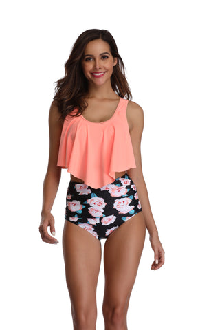 Women's Swimsuit Two Piece Bathing Suits Ruffled Flounce Top Printed High Waisted Bottom Tankini Set