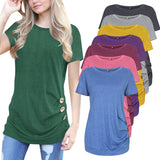 Women's Top Button Decorative Short-Sleeved T-Shirt Women