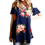 Summer V-neck strapless floral print T-shirt Top