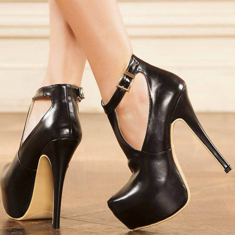 azmodo T-Shaped Buckle Platform High Stiletto Heels