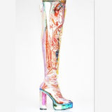 Sexy Over the knee Boots Transparent Shoes Woman Rainboots Crysta High Heels Botas Mujer Shoes
