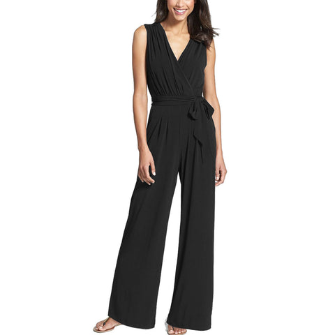 New Women's Pants Wide Leg Jumpsuits Sleeveless V-Neck Jumpsuit Trousers