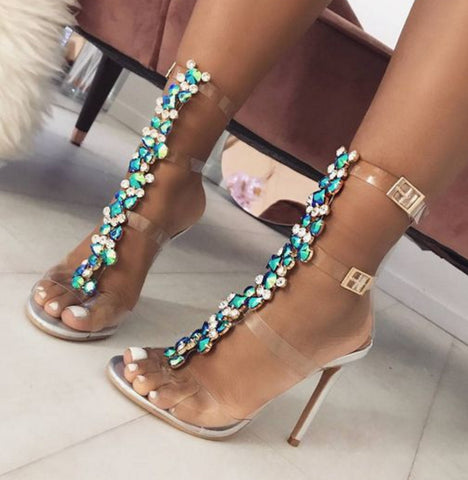 PVC Jelly Blue Crystal Sandals Open Toed High Heels Sexy Buckle Strap Women Sandals Pumps Silver size