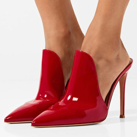 azmodo  Red Slip-On Pointed Closed Toe Mules AZKD339