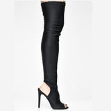 The Knee Sock Boots Knit Stretch Women Winter Boots High Heels Shoes Sexy Thigh High Boots Open Toe