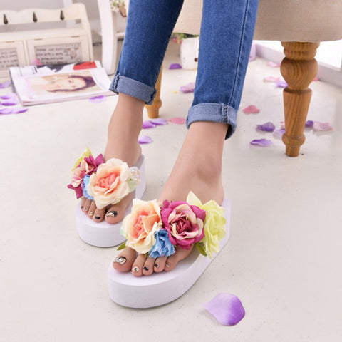 AZMODO Woman Platform Flower flip flops Slippers 133