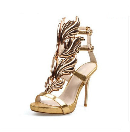 c61438e70 Strappy Stiletto Heel Dress Sandals hollow heel with colored leaf ...