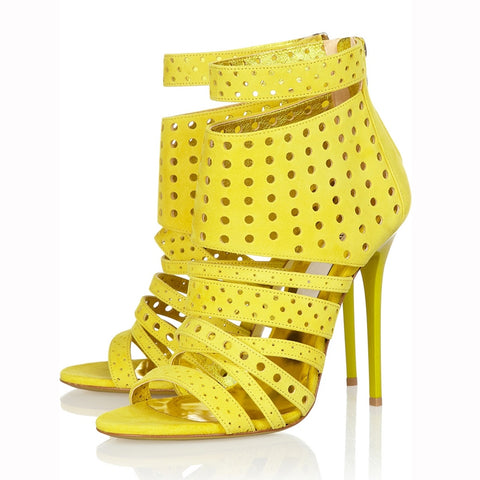 azmodo Yellow Hollow Out Strappy Dress Sandals