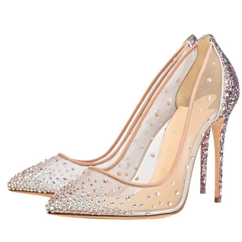 spring rhinestone mesh high heel women's single shoes wedding shoes foreign trade fashion women's shoes