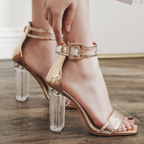 summer new European and American style with transparent plastic crystal with thick with high-heeled sandals shoes