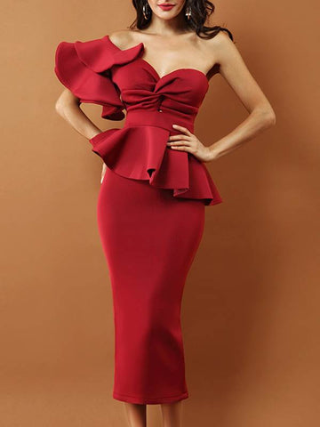Red Falbala Ruffle Sleeve Off Shoulder Bodycon Dress