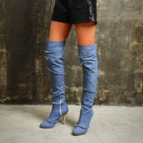 azmodo Stylish Denim Over Knee High Boots