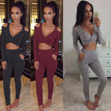 Off-shoulder long-sleeved vest trousers two-piece