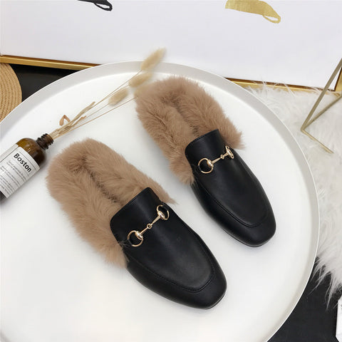 Women Rabbit Fur Slides Girls Mules Slip On Slides Flat Heels  Furry Slipper Slipony Mule Sandals Shoes Low with rabbit fur half slippers lazy shoes women's shoes classic fashion wear(run small, please choose larger size)