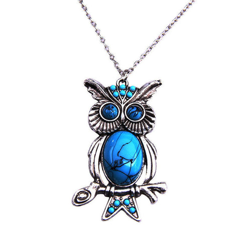 Fashion Vintage Turquoise Necklace Ethnic Wind Owl Pendant Long Necklace Sweater Chain