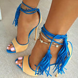 Open Toe Fringe Lace Up Sandals