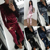 Slim Color Block Women's Velvet Suit Sportswear Casual Pants Suit