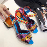 Thick with rivets mixed color sandals high-heeled with the first layer of leather shoes