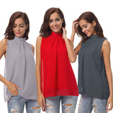 Women's Chiffon Top Double-layer High Neck Sleeveless Chiffon Shirt