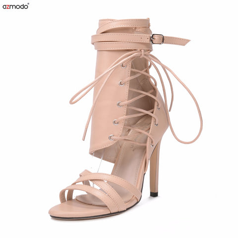 f75c824561c ... Roman Buckle strap Shoes Women Sandals Sexy Gladiator Lace up Peep Toe Sandals  High Heels Woman ...