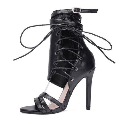 db4e8d7c0dd ... Roman Buckle strap Shoes Women Sandals Sexy Gladiator Lace up Peep Toe  Sandals High Heels Woman ...