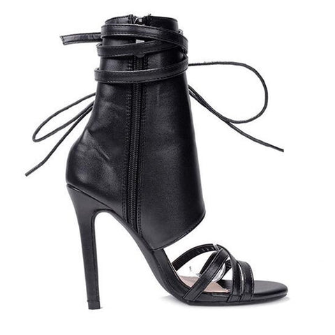 052419ef087 ... Roman Buckle strap Shoes Women Sandals Sexy Gladiator Lace up Peep Toe  Sandals High Heels Woman