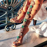 Women Knee High Gladiator Stiletto Heel Strappy Buckle Crystal Rhinestones Sexy Dress Sandals