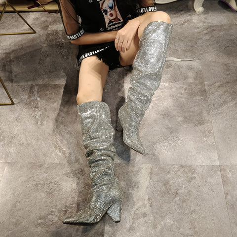 4c70e52006a AZMODO Rhinestone Heels Sexy Knee High Boots Women's Over The Knee  Boot,Sexy Over The Knee Pullon Boots