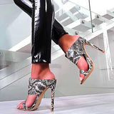Sexy Stiletto Heel Snake Pattern Sandals