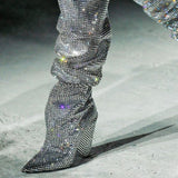 AZMODO Rhinestone Heels Sexy Knee High Boots Women's Over The Knee Boot,Sexy Over The Knee Pullon Boots