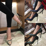 Wine glass with snakeskin high heel stiletto shallow mouth single shoes female wild ol banquet pointed shoes