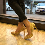 Sequined rivets high heel stiletto shallow pointed single shoes female
